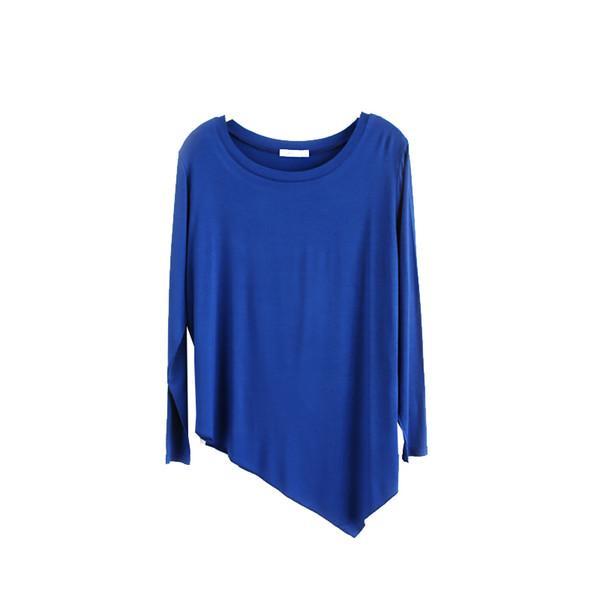 100% Cotton Long Sleeve Dance Women T Shirts Casual Y oga Ladies Tops Asymmetric Womens Tees S ports tshirt Camisetas Mujer D5