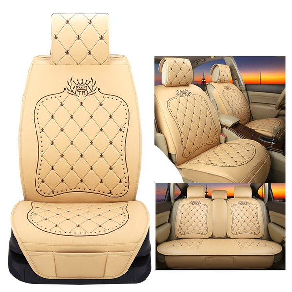 Superb Universal Leather Crown Embroideried Car Seat Covers Set Cushion Interior Accessories For Volkswagen Suzuki Vw Kia Auto Seat Cover Sets Auto Seat Pdpeps Interior Chair Design Pdpepsorg