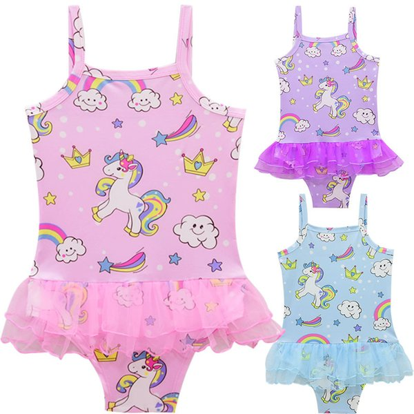 top popular 2018 New Baby Girl Swimwear Cartoon Unicorn Swimsuit One Piece Princess Bathing Suit Bikini Beachwear Bodysuit With Gauze Ruffles 2021