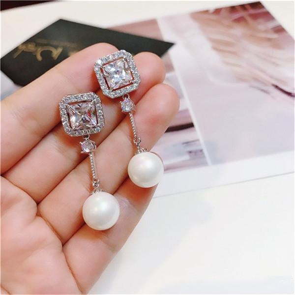 S925 Sterling Silver Drop Earrings For Women Shell Freshwater Pearls & Cubic Zirconia Temperament Long Earring Fine Jewelry