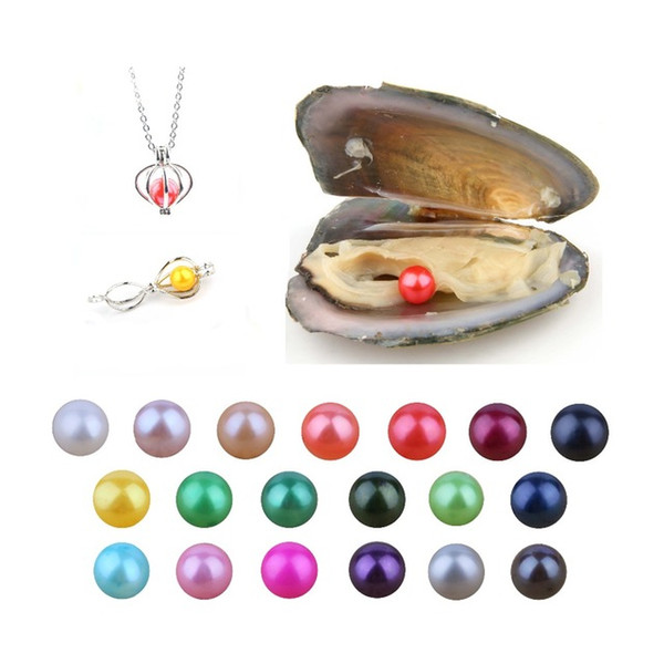 Wholesale 2019 DIY 6-8mm round Oyster Pearl 25 mix color freshwater Natural pearl Loose Decorations Vacuum Packaging Trend Gift Surprise