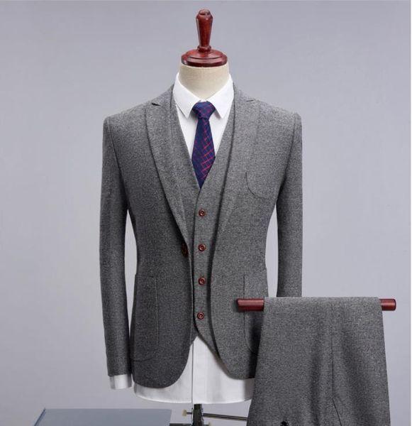 (Jacket+Vest+Pants) Men's suits 2017 new style Men's casual fashion suit for man British style wool suit Men high quality wedding suits