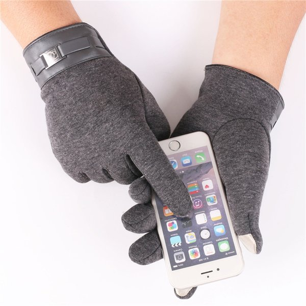 Autumn Winter Men's Touch Screen Gloves Outdoor Riding Gloves Warm Velvet Men's Non-Falling Thermal