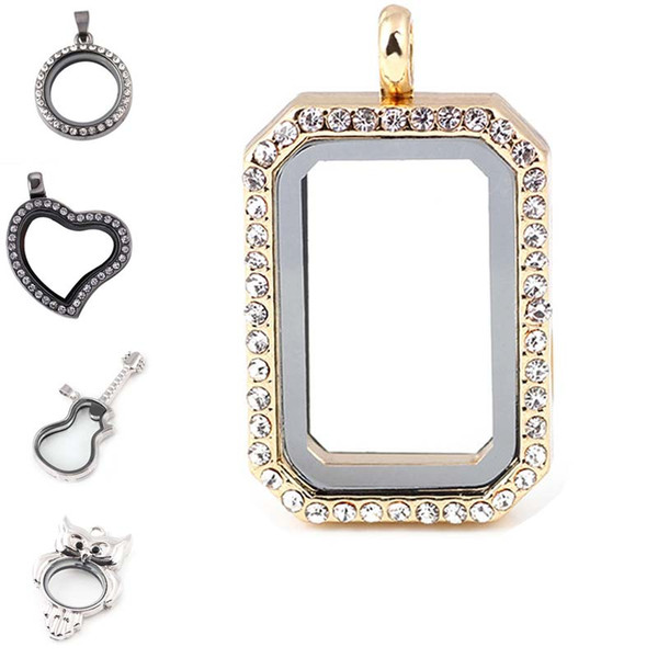 Crystal Heart Guitar Owl Square Floating Locket Open Flame Living Memory Photo Charms DIY Jewelry Pendants for Necklaces Drop Shipping