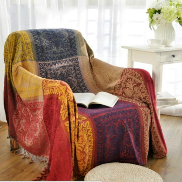 Bohemian Chenille Tibetan national sofa blanket slipcover Sofa pad cloth Throws Bed Travel Plaids Rectangular stitching blanket