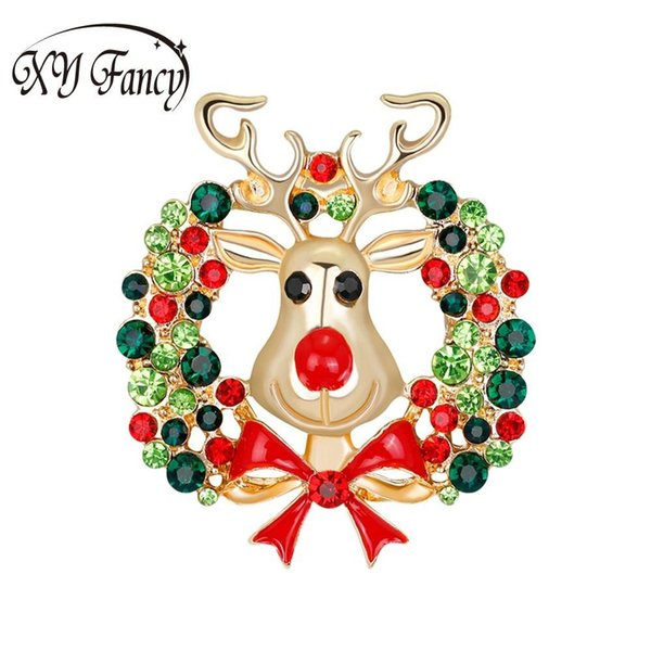 Sangdo 2017 Fashion New Christmas Cute Cartoon alce forma spilla di cristallo strass accessori donna gioielli zk50