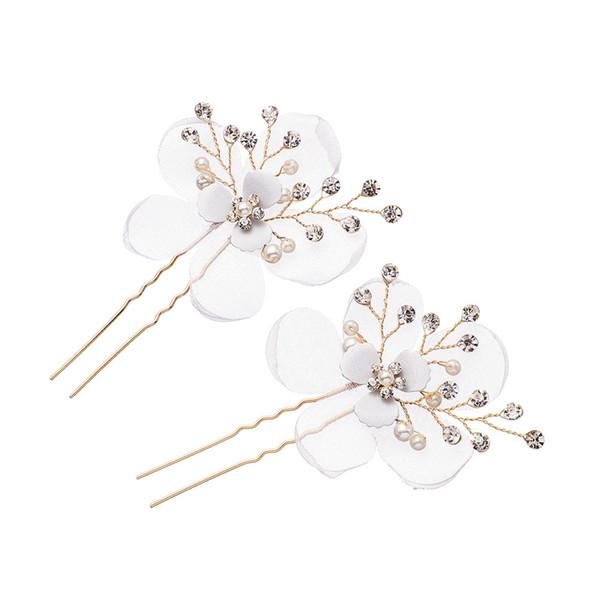 Joyería nupcial de oro rhinestone boda simple tiara tela hecha a mano flor perla horquilla accesorios para el cabello al por mayor