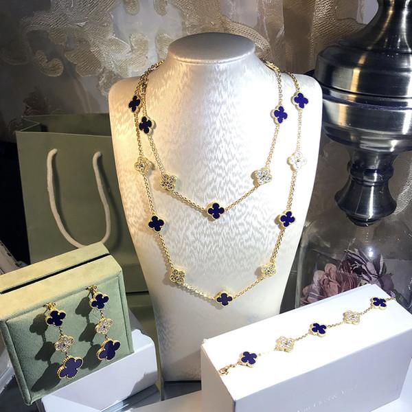 Sıcak Marka Kadınlar Için 925 Ayar Gümüş Düğün Takı Seti Altın Renk Kolye Mavi Yonca Yaprak Kolye Küpe Bilezik Seti