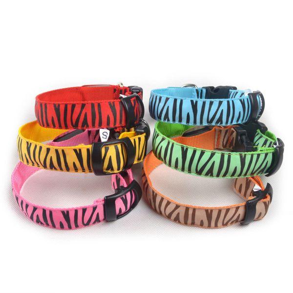 Collare di sicurezza Pet LED Cat Pet regolabile LED Collari di sicurezza alla moda con zebra