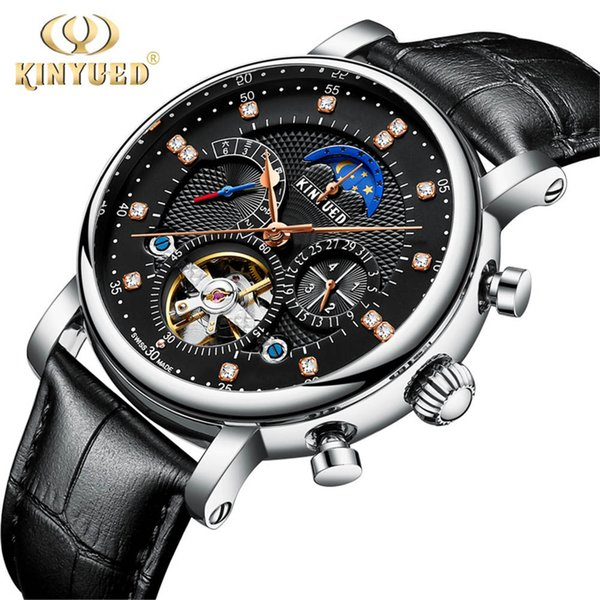 KINYUED Fashion Series Design Moon phase Silver Case Mens Watches Top Brand Luxury Tourbillion Diamond Display Automatic Watch