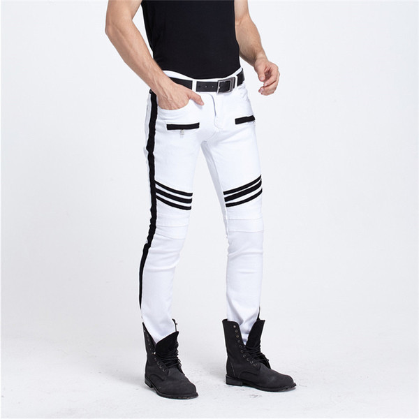 Men Clothes 2018 White Jeans Men Slim Pants Plus Size Hip Hop Mens European Jeans Kanye West Designer Biker Pencil Pants
