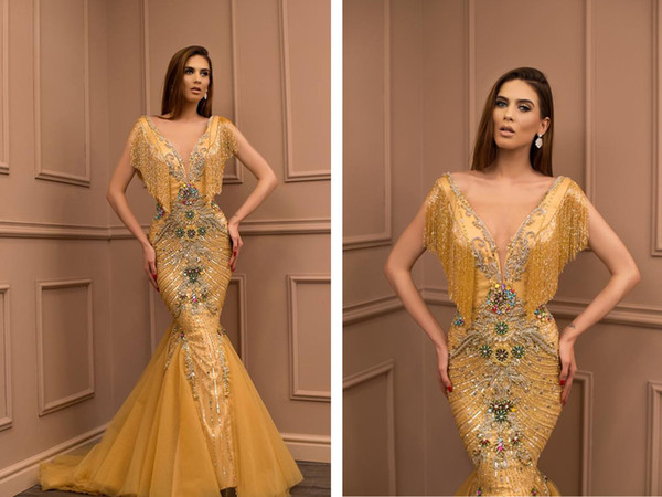 Sirena Oro Beyonce Pageant Vestidos de entrevista Vestidos de noche largos de fiesta de Bling 2019 Diseños Última alfombra roja Vestidos de famosos