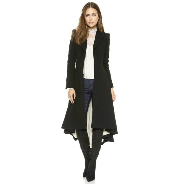 Autumn Women Fashion Trench Coat European Style Long Sleeve Casual Outwears Maxi Long Dovetail Slim Black High Low 4XLTrench