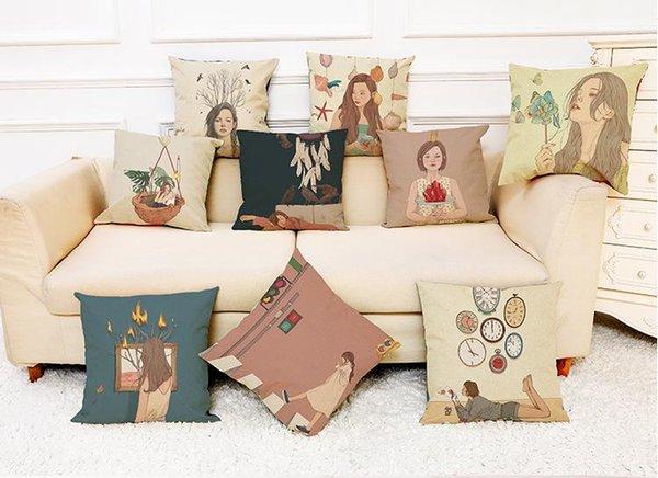 Elegant Girl fundas de cojines de lino Home Office Sofa fundas de almohada cuadradas fundas de almohada decorativas sin inserto (18 * 18 pulgadas)