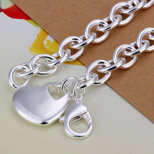 Fine 925 Sterling Silver Bracelet for Women Men,Fashion 925 Silver Heart Chain 8inch Bracelet Italy 2018 New Arrival Xmas Best Gfit AH273