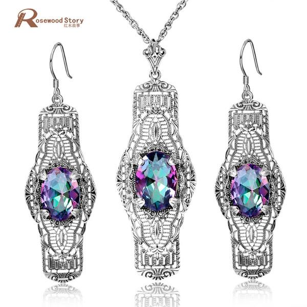 Atacado Vintage Mystic Rainbow Cristal Conjunto de Jóias Finas Mulheres Soild 925 Sterling Silver Jewelry Wedding Set BrincosPendente