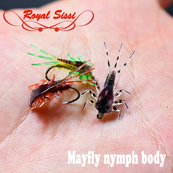 20pcs/pack 3colors Mayfly nymph rubber body with Thin skin fly fishing artificial nymph flies fly tying nymph leg&body materials Y18101002
