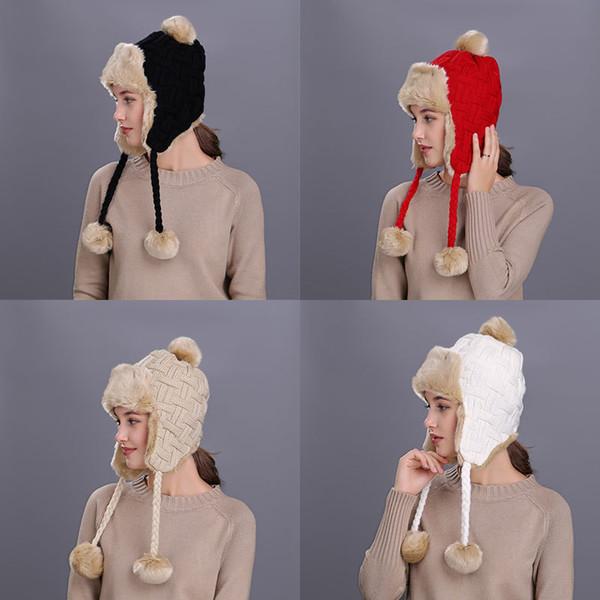 Frauen Trapper Hüte Winter Warm Bomber Hut Baumwolle stricken Pom Pom Ohrenklappen Caps Bomber Hut Mützen