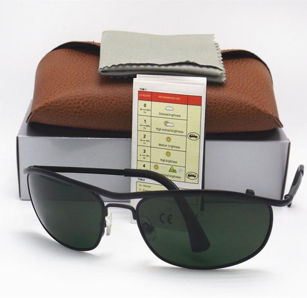 1PCS High Quality Classic Sunglasses Designer Brand Mens Womens Sun Glasses Eyewear 62mm Black Metal Frame Green Glass Lenses Brown box