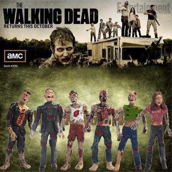 Baixo Preço de Promoção Presente de Natal Lot6pcs The Walking Dead Filme TV 4 polegada Figura de Ação Crianças Brinquedos Presente Brinquedo Modelo Collectible