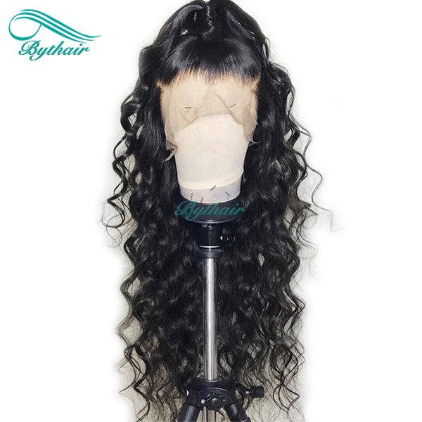 Bythair Lace Front Human Hair Wig Big Curly Pre Plucked Hairline Full Lace Wig Curly Brazilian Virgin Hair 130% Density Bleached Knots