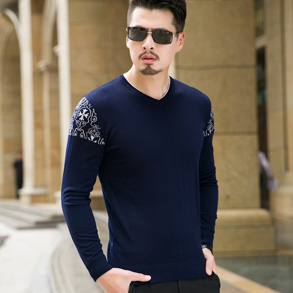 Herren Pullover Pullover 2018 Neue Ankunft Herbst Winter 8XL 7XL 6XL 5XL 4XL Gestrickte Lose Pullover V-ausschnitt Pullover Hombre 6810