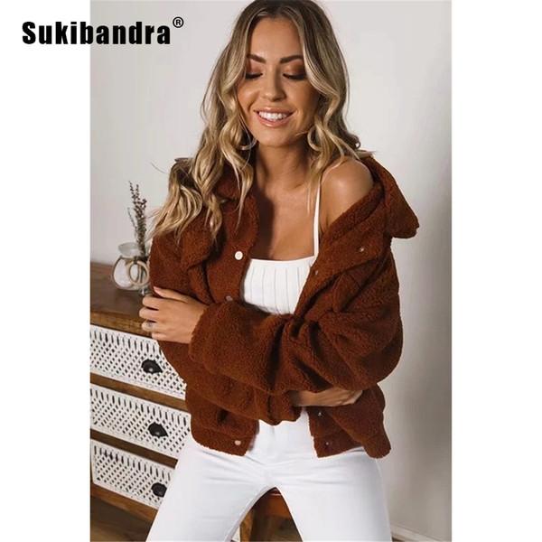 Sukibandra Uzun Kollu Kahverengi Rahat Sıcak Kalın Kış Faux Kürk Shaggy Kabarık Kürklü Ceket Kadın Giyim 2018 Vintage Kadın Coat