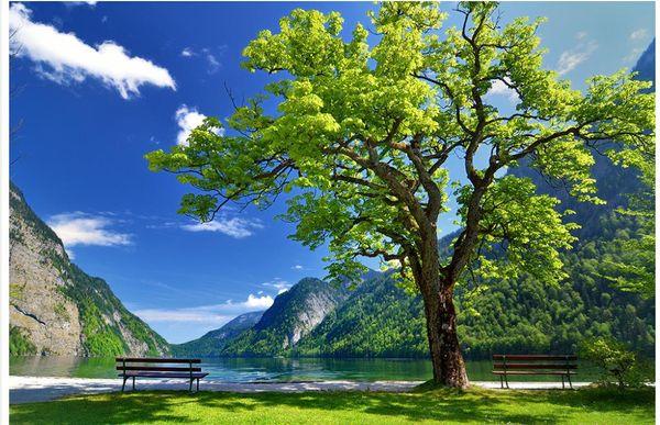 Kundenspezifische Fototapete KTV Ursprünglicher großer blauer Himmel des Baums des Grases Fernsehhintergrundwand Fernsehhintergrund 3D Wandwandpapier