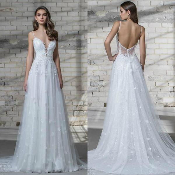Pnina Tornai 2019 Wedding Dress White Sexy Spaghetti Floral Applique Backless Sweep Train Bridal Gowns Garden Wedding Dresses
