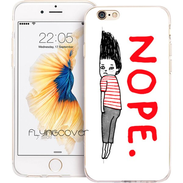 Cartoon Nope Art Clear Soft TPU Silicone Phone Cover for iPhone X 7 8 Plus 5S 5 SE 6 6S Plus 5C 4S 4 iPod Touch 6 5 Cases.