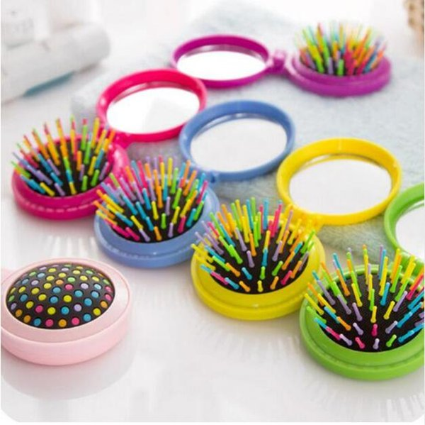 1 Pc New Makeup Comb Hair Brush Pro Styling Tool Portable Mini Folding Comb Airbag Massage Round Travel Hair Brush with Mirror