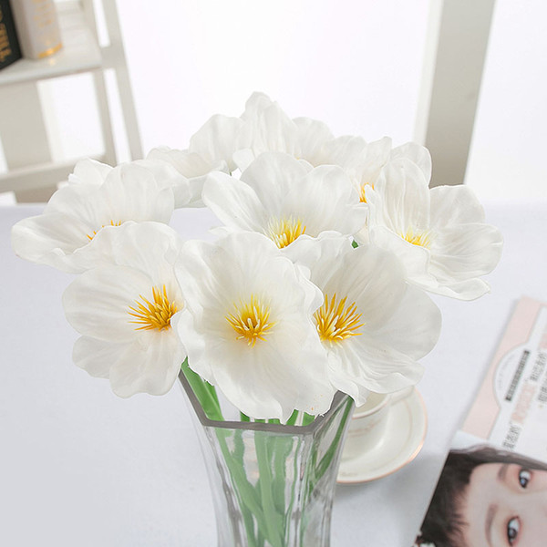 20pcs Lot Pu Artificial Flowers Mini Poppy Real Touch Wedding Decorative Fake Flower Home Decoration Accessories