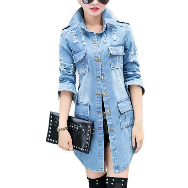 Autumn Fashion Hole Long Sleeve Denim Trench Coat Female For Women Windbreaker Womens Windbreakers Cardigan South Korea