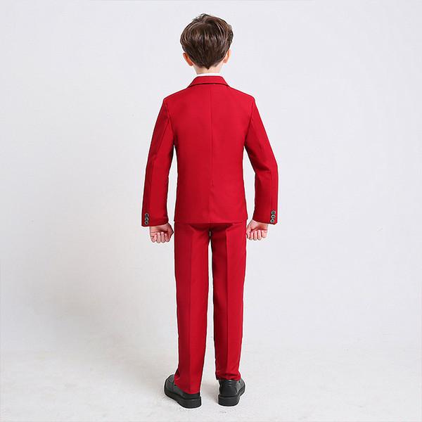 Nouvelle Tenue Beau Du VestePantalon Acheter De Costume Cérémonie Enfant Garçon Personnalisé Rouge Gilet Trois Pièces DEWHI29