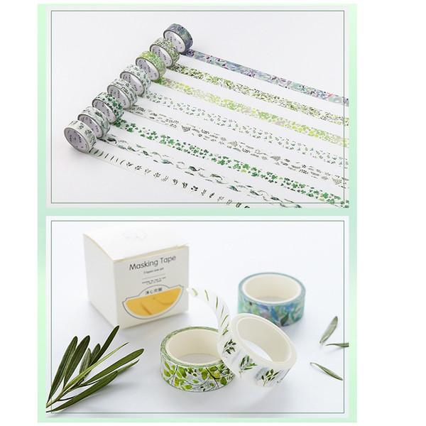 8 Stück Blätter von Gras Washi Tape Set Clover grüne Farbe Abdeckbänder Dekoration Aufkleber Scrapbooking Ablum Schreibwaren A6015
