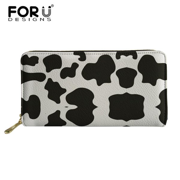 FORUDESIGNS Women Wallets Cow Lamb Sheep Printing Wallets and Purses Ladies Purse for Coins Fashion Long PU Leather Card Holder