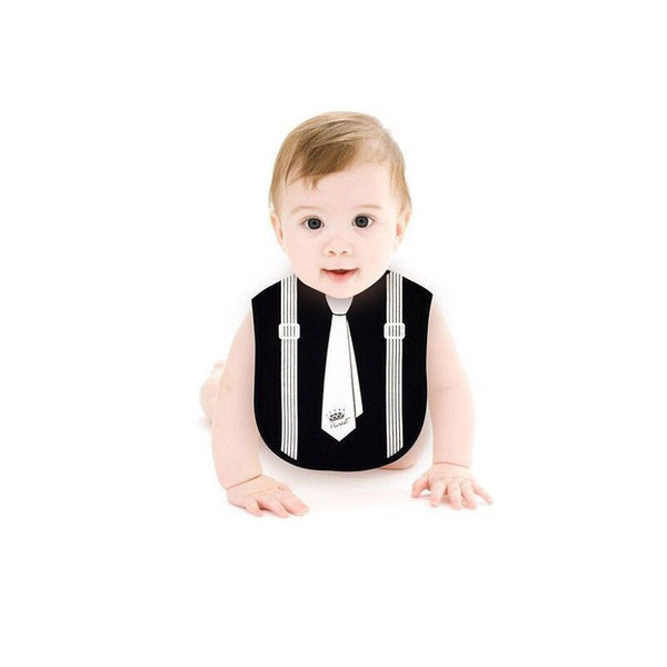 Waterproof Baby Feeding Infant Toddler Newborn Bib Black White Gentleman Bow Tie Soft Cotton Saliva Towel Kids Burp Cloths Boy Bibs