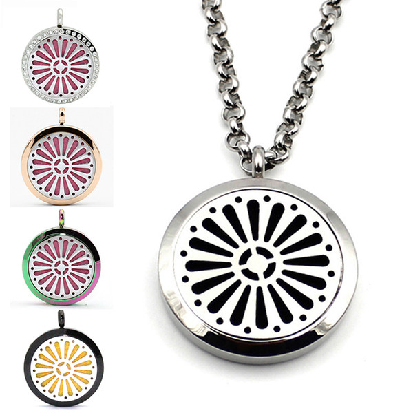 Aromatherapy Essential Oil Diffuser Perfume Locket Pendant Stainless Steel Floating Magnetic Necklace Chain Pendants And Free Pads For Gift