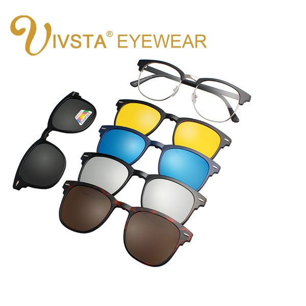 IVSTA 2018 Ímã Óculos De Sol Clipe Clipe Magnético Espelhado em óculos de sol Dos Homens Flip Polarized Miopia Prescrição Personalizada Óptica 2202 CE FDA