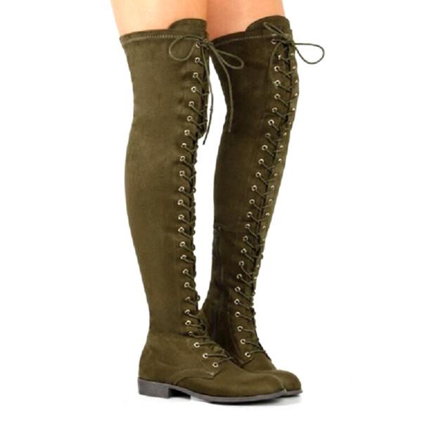Moda Feminina Lace Up Lado Zip Over The Knee Botas Coxa Alta Combate Sapatos de Salto Baixo Sólidos Rendas Até Dedo Redondo Botas de Salto Quadrado