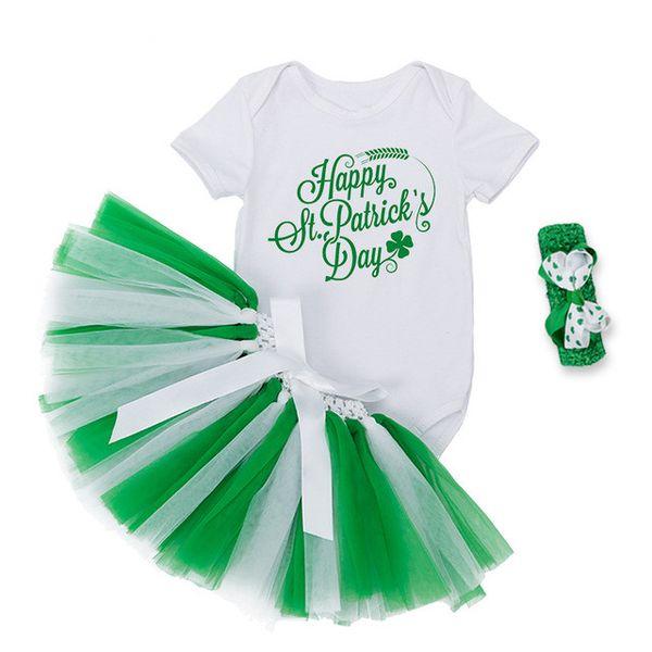 2018 Nueva ropa para el festival de St. Patrick Ropa de bebés y niñas Conjuntos Trébol de pelo verde + Carta blanca Mameluco de manga corta + TuTu Falda 3Pcs Conjuntos