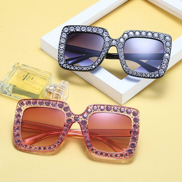 New Big Diamond Sun Glasses Square Colored Shades Women Oversized Sunglasses Retro Top Crystal Trend Rhinestone Free Shipping