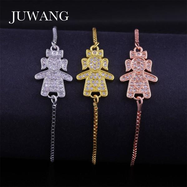 JUWANG Schöne Nette Kleine Mädchen Armband für Frau Mädchen Kupfer Material Gold Splitter Farbe Einstellbare Kette Schmuck Geschenk Großhandel
