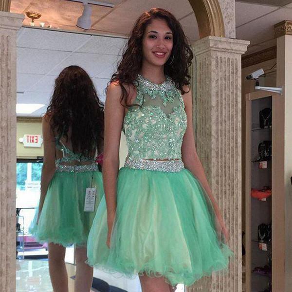 Compre Envío Gratis Verde Menta Joya Vestidos Cortos De Regreso Al Hogar Bling Crystal Y Apliques Vestidos De Fiesta De Dos Piezas Vestidos De