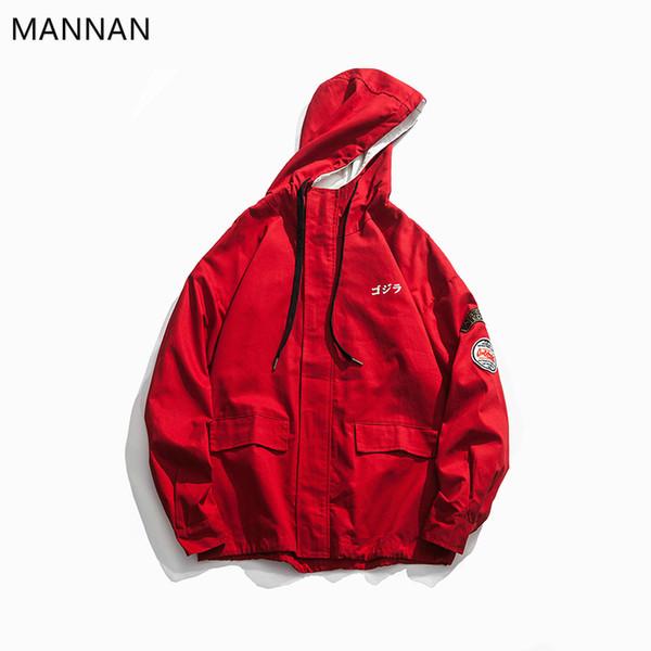 MANNAN Herren Hip Hop Jacke Streetwear Harajuku Cargo Jacke Windbreaker Hoodie Tasche Herbst Red Vintage Kapuzen Track Coat