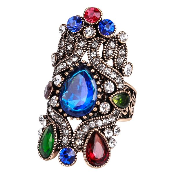 Inlay bunte Strass Edelstein Ringe blaue Edelstein Saphir Vintage Ringe für Unisex Böhmen und einzigartigen Stil
