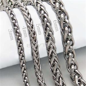 whole saleBraided Link Wheat Chain Necklace Men Necklace Stainless Steel Jewelry High Quanlity Women punk rock biker gift,