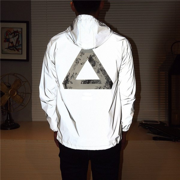 petal01 / Stand Collar Jacket Winderbreaker Mens Jacket Trend Reflective Jacket Man Women Hooded Polyester Fibre Long Sleeve Hooded Sweatshirt