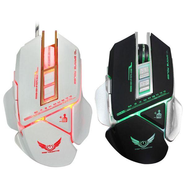 Colorido Cool Mouse X400 3200 DPI 7 Teclas Macro Definição LED Luz Óptico USB Wired Gaming Mouse