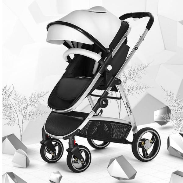 Paysage haute poussette bébé 3 en 1 avec siège de voiture pour nouveau-né Poids léger chariots peut s'asseoir Lie pliant BB panier par avion